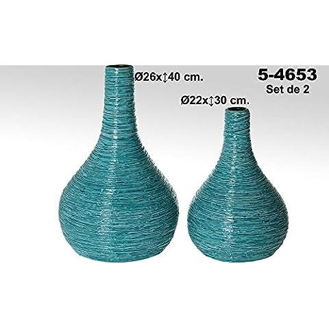 DonRegaloWeb - Set de 2 jarrones de cerámica de terracota decorados en color azul