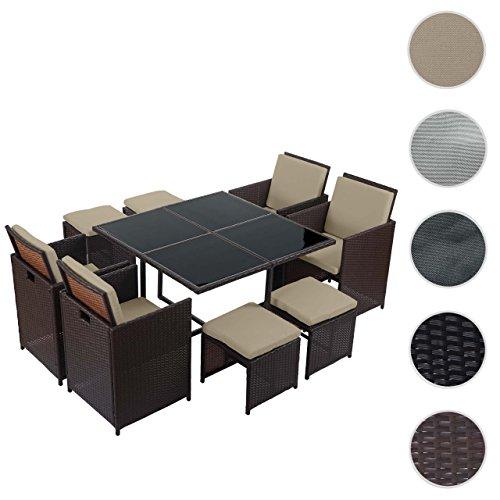 Mendler Poly-Rattan Garten-Garnitur Kreta, Lounge-Set Sitzgruppe ~ 4 Stühle braun, Kissen beige