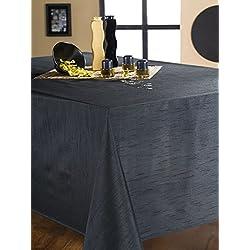 CALITEX Mantel Ovalado Efecto Seda (180 x 240 cm), Color Negro