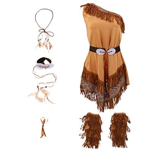 Baoblaze Indianerin-Kostüm Kinder Damen Indianer-Kostüm Mädchen Boho Haarschmuck -