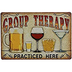 "OULII Muestra vintage de la lata del Metal de la pared placa cartel ""Terapia de grupo practicada aquí"" para Cafe Bar Pub cerveza Club pared Home Decor"