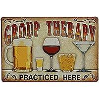 "UEETEK Lata Metal vintage de la pared muestra placa cartel ""Terapia de grupo practica aquí"" para Cafe Bar Pub cerveza"