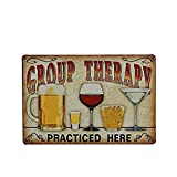 OULII Muestra vintage de la lata del Metal de la pared placa cartel 'Terapia de grupo practicada aquí' para Cafe Bar Pub cerveza Club pared Home Decor