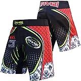 MMA Shorts Cage Combat coup de pied Pantalon de boxe Muay Thai pour la formation et la concurrence F2W Series (Black/Red, S)
