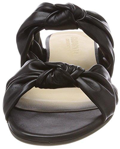 Gardenia Copenhagen Gillisi Knot, Sandales Bout Ouvert Femme Noir (Softanil Black)