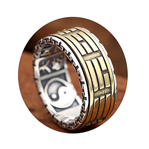 Epinki 925 Sterling Silber Herren Ringe Kreis Tai Chi Freundschaftsringe Allergiefrei Herrenringe Silber Gold Gr.70 (22.3) (Sterling Silber Siegelring Männer)