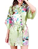 Surenow Robe de Chambre de Femme Motif Exotique Paon Fleur Kimono Satin Soyeux Peignoir - Small - Vert