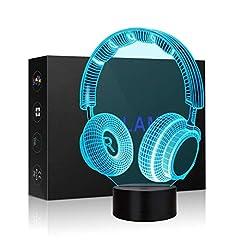 Idea Regalo - luce di notte del calcio 3D LED, lampada visiva dell'illusione ottica 3D 7 Cambiare colore Touch & Remote USB tavolo regalo giocattoli decorazioni (Cuffie)