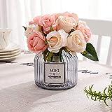 FCL RAN Mini bouquet de fleurs artificielles en soie pour bouquet de mariage, arrangements floraux - 12 roses par boîte
