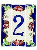 Hausnummern aus Keramik, Hausnummer Keramik Blume, Dübel Keramik NF 1.Dim: Höhe 15cm, Breite insgesamt 12,5cm