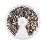 PandaHall Elite 1550 Piezas/Caja de 1,5/2/2,5 mm Tubo de latón engarzada Abalorios con 1/1,5/2 mm Agujero para bisutería, Bronce Antiguo