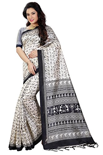 Women\'s Art Silk Traditional Saree Unstitched Blouse Design (ART SILK 2_White and Black)