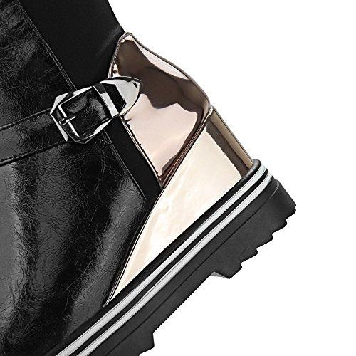 VogueZone009 Donna Tessuto Lucido Alta Altezza Colore Assortito Tirare Tacco Alto Stivali Nero