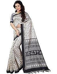 Shiya Women's Raw Silk Saree With Blouse Piece (Art Silk 2_White And Black)