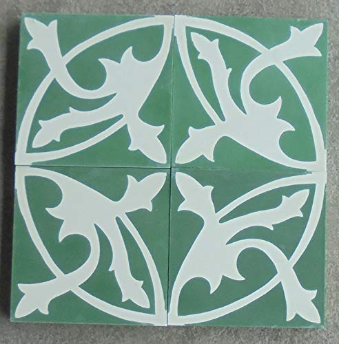 4 Zementfliesen Mondial grün weiß - Handarbeit - Jugendstil Fliesen Dekorfliesen
