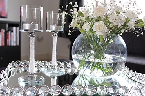 The sparkle shop portacandela in cristallo swarovski, set di 2con decorazione casa feste romantiche uniqe candeliere