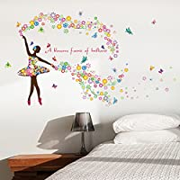 Wallpark Romantic Colorful Flower Fairy Ballet Dancer Ballerina Butterfly Removable Wall Sticker Decal, Living Room Bedroom Home Decoration Adhesive DIY Art Wall Mural