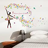 Wallpark Romantico Colorato Fiore Fata Ballet Dancer Ballerina Farfalla Removibile Adesivi Murali Adesivi da Parete, Soggiorno Camera da Letto Casa DIY Arte Decorativo Adesivo Murale
