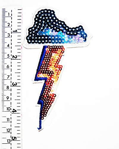 Pailletten Lightning Bolt Regenturm Cartoon Kinder Kinder Studenten Patch Weste/Jacke Biker Motorrad Rider Biker Tattoo Jacke T-Shirt Aufnäher Aufbügler Aufbügler
