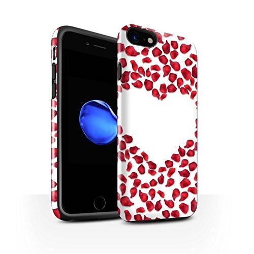 STUFF4 Glanz Harten Stoßfest Hülle / Case für Apple iPhone 8 / Liebe Herz/Schwarz Muster / Valentine Herz Kollektion Rote Rosenblätter