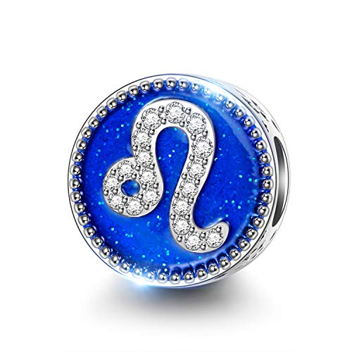NINAQUEEN Charms für Pandora Armband Löwe Sternzeichen Schmuck für Frauen Silber 925 Emaille Perlen Geschenk für Frauen Mädchen Geburtstagsgeschenk für Frauen Mutter Ehefrau Freundin