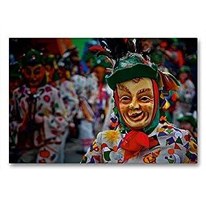 51EV13KCrpL. SS300  - Calvendo Premium Textil-Leinwand 90 cm x 60 cm quer, Fetzle | Wandbild, Bild auf Keilrahmen, Fertigbild auf echter Leinwand, Leinwanddruck: der Narrenzunft Aulendorf Menschen Menschen