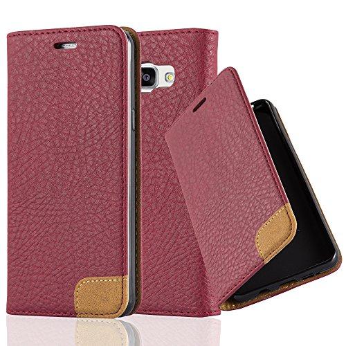Preisvergleich Produktbild Cadorabo Hülle für Samsung Galaxy A5 2016 (6) - Hülle in Herbst ROT - Handyhülle mit Standfunktion,  Kartenfach und Textil-Patch - Case Cover Schutzhülle Etui Tasche Book Klapp Style
