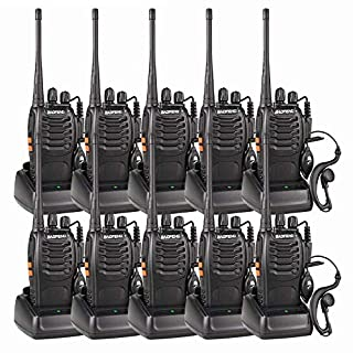 10 Pack BF-888S Long Range Walkie Talkies 5W 16CH CTCSS DCS Portable Handheld 2-way Radio with USB Charger and LED Light Voice Prompt for Field Survival Biking and Hiking