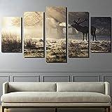 Y-XM Wandbilder leinwandbilder ohne Frame HD-Moderne No Frame Spritzlackierung Moderne Home Dekor Leinwand Gemälde Bild der Hirsche