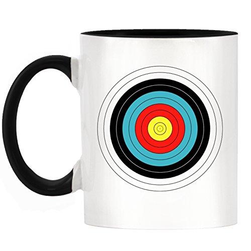 Bogenschießen Ziel Design zweifarbigen Tasse mit schwarz Griff & Innen