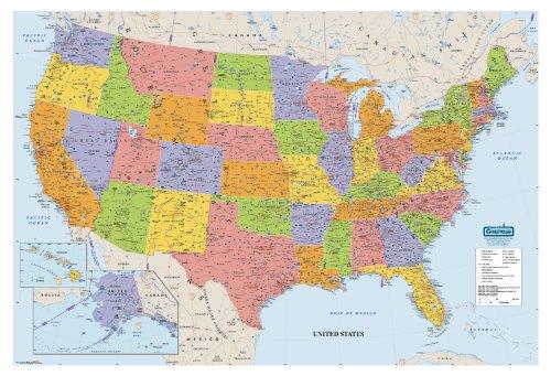 House of Doolittle Schreiben Sie an / Wischen Sie weg Laminated United States Karte 38 x 25 Zoll (HOD721) (Us Post Office)