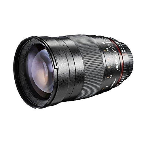 Walimex Pro 135mm 1:2,0 DSLR-Objektiv für Canon EF (manueller Fokus, für Vollformat Sensor gerechnet, IF, Filterdurchmesser 77 mm, mit abnehmbarer Gegenlichtblende)