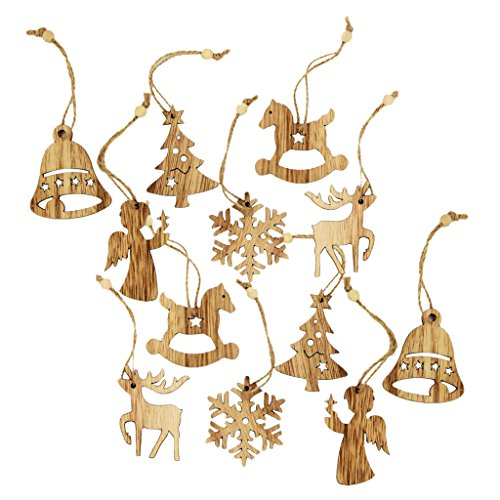 Gazechimp Ensemble de 12pcs Décoration de Noël Ornement Suspendu Flocon de Neige Sapin Décoration