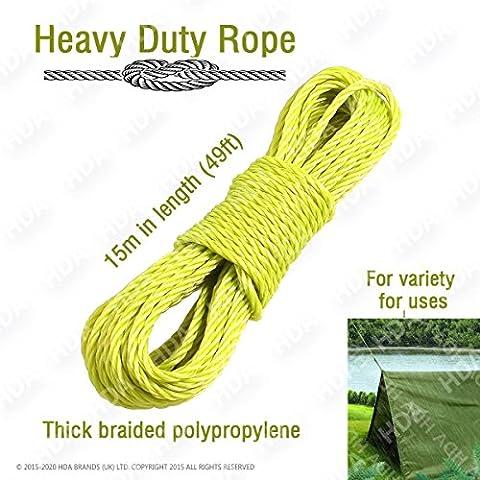 Heavy Duty–Corda da giardino corda, corda, forte corda di traino corda (giallo)–Confezione da 1
