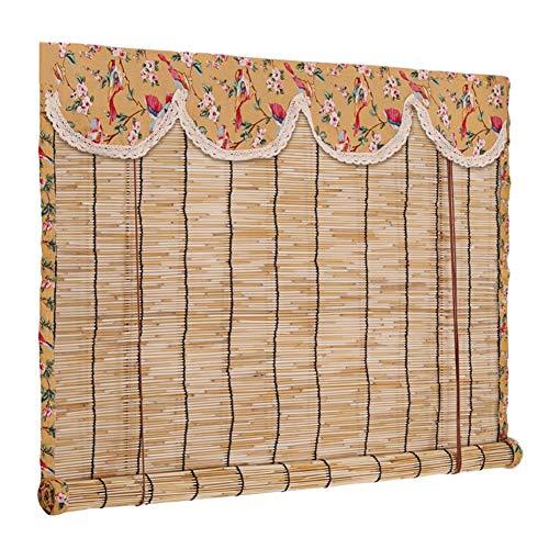 CAIJUN Reed Vorhang Bambusrollo Raffrollo Retro Partition Vorhang Dekoration Sonnenschutz Anti-UV Leinenkante, 2 Arten, Benutzerdefinierte Größe (Color : B, Size : 140x200cm)