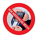 Aufkleber: Nur Barzahlung | Keine EC- Kartenzahlung/Kreditkarten möglich | witterungsbeständig & langlebig (9,5 cm)