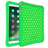 Fintie Silikon Hülle für iPad 9.7 Zoll 2018 2017 / iPad Air 2 / iPad Air - [Bienenstock Serie] Leichte Rutschfeste Stoßfeste Schutzhülle Tasche Case Cover, Grün