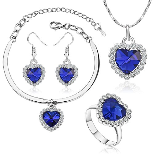 Beydodo Women White Gold Plated Jewellery Set Heart Blue Crystal Ring Bracelet Necklace Earrings Sets