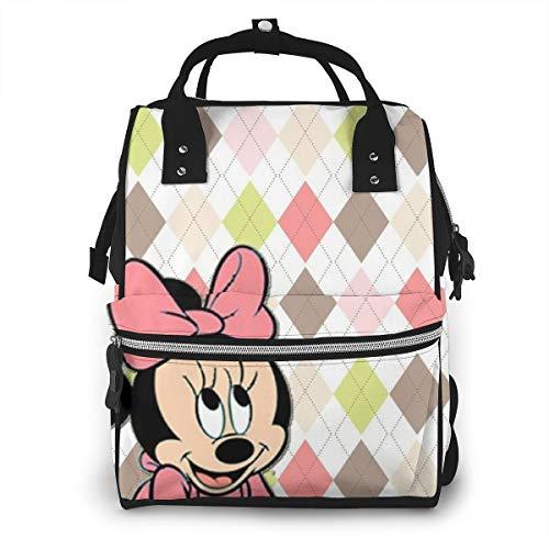 Mochila, cambiador de pañales para mamá, linda mochila de Mickey Mouse multifunción de gran capacidad...