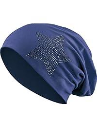 aedfb806041dfb Strass Stern Steine Jersey Baumwolle elastisches Long Slouch Beanie Unisex Damen  Mütze Heather Wintermütze (2