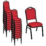 vidaXL 20x Saalstuhl Rot Bankettstuhl Stapelstuhl Essstuhl Küchenstuhl Stuhl
