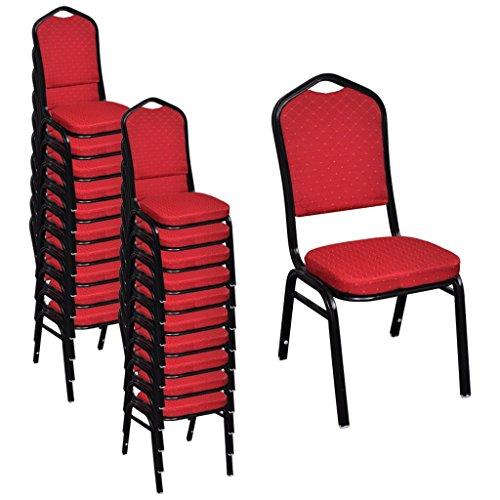 Festnight Lot de Chaises de salle à manger avec rembourrée Rouge / Noir