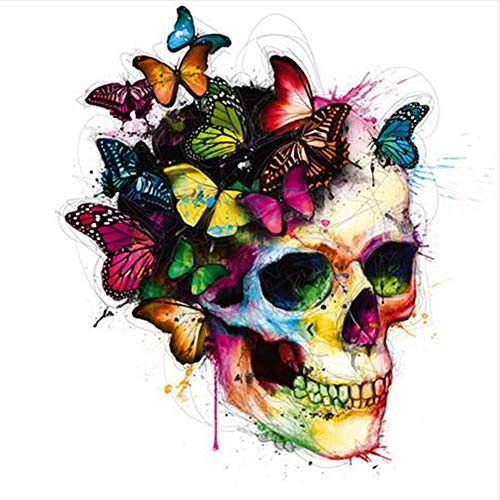 ESHOO 5D Full Diamond Painting Butterfly Skull Pcitures DIY Drawing Paint by Number Kit Rhinestone Painting Handcraft Kit for Kids Room Wall Hanging Decor