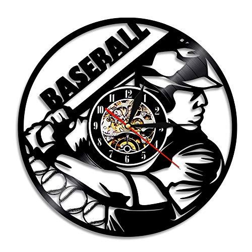 Mrzy Vintage Clock Vinyl Record Wanduhr Baseball Design Wand Kunst Wohnkultur Sport Thema Zeit Uhr Geschenk Für Baseball Fan, a