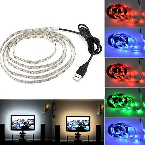 Tv-lampe (TV-Hintergrund-Lampe, DC 5 V, LED-Leuchte, USB-betrieben, Schreibtisch und TV-Hintergrund, flexible Dekoration 100 cm warmweiß)