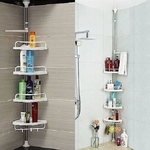Shine 4 Tier verstellbare teleskopische Bad Organizer Eckdusche Regal Einheit Rack Caddy weiß