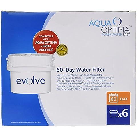 Aqua Optima Evolve - Filtros de agua de 60 días (12 unidades, suministro para 2 años, compatible con Brita