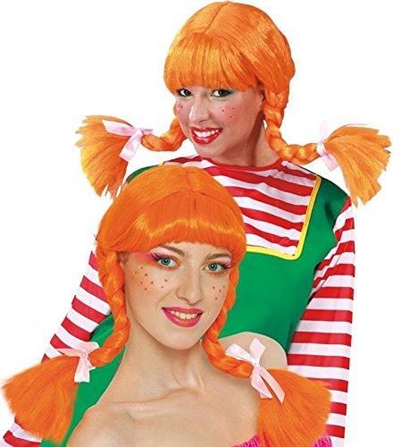 orange Langhaar Perücke mit geflochtenen Zöpfen für Damen Karneval Fasching Party