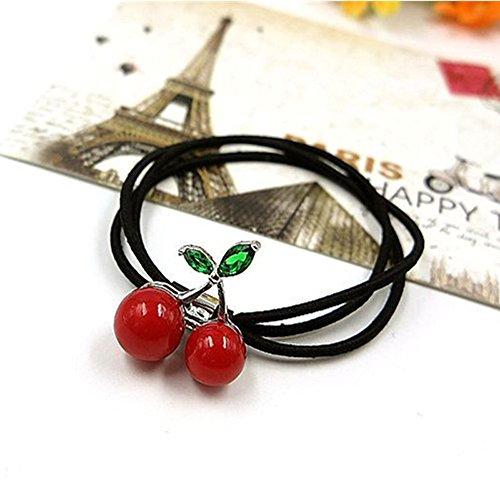 asentechuk® 5x Cherry Perle Eiffelturm Haar Seil mit Kopfbedeckungen Frauen Kinder Elastic Haar Band Haar Zubehör 5.5cm Red Cherry - Perlen-cherry