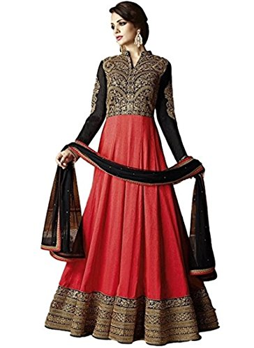 MONIKA SILK MILL Women\'s Georgette Embroidered Anarkali Suit with Dupatta (4344BK5108, Red and Black, Free Size)